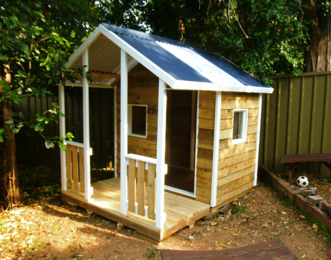 cubby house 2.2m x 1.8m with deck, x2 window openings, painted trim $1110