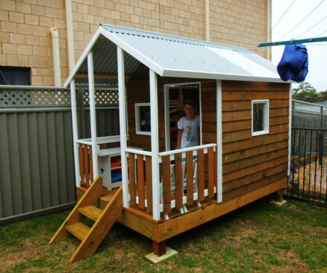 cubby house 2.8m x 1.8m with deck, side rails, x2 perspex windows, painted trim, stained, 40cm elevation installed Sydney $2595