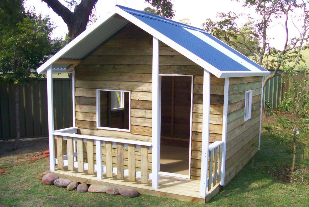 cubby house 3.4m x 3.4m with deck, with side rails, x3 window openings, painted trim $1940