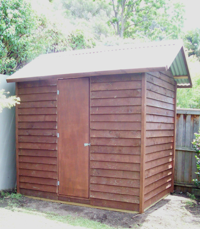 Shed 2.4m x 1.8m, gable roof, stained $2025