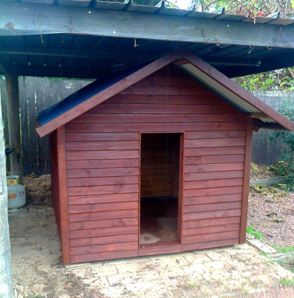 dog kennel 1.8m x 1.8m, gable roof, stained $955