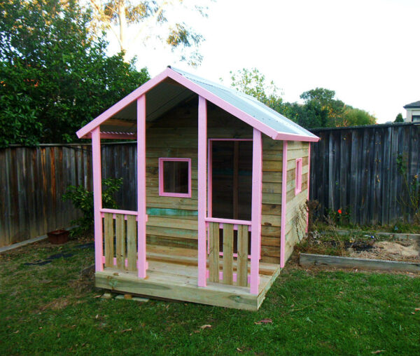 small cubby with verandah 2.2m x 1.8m, x2 perspex windows, pink trim $1350 with accessories