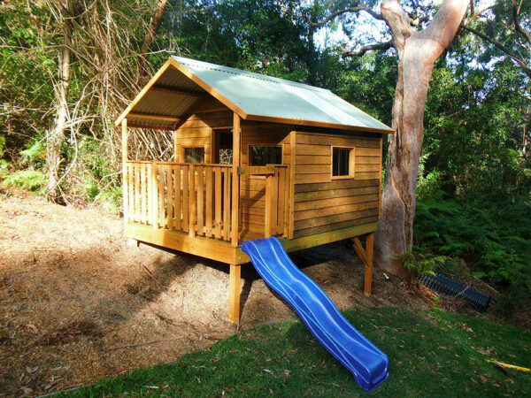 extra large cubby house with verandah 3.2m x 2.4m, stained, x3 perspex windows, 1.2m elevation $3235 with accessories