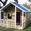 extra large cubby house with verandah 3.2m x 2.4m, x3 perspex windows, side rails, white trim $2005 with accessories