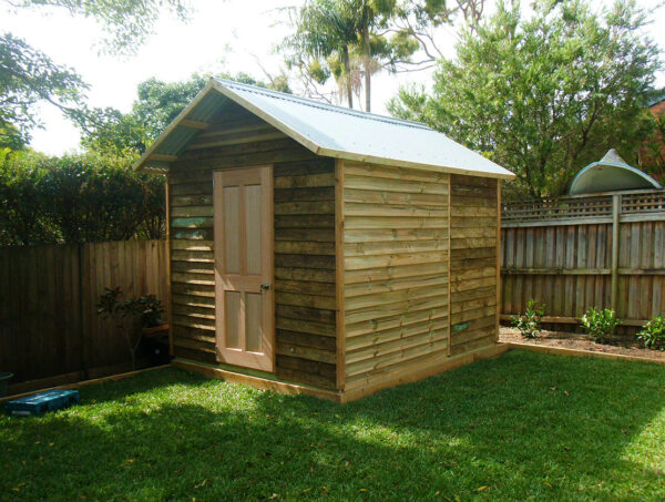 shed 2.4m x 2.4m, gable roof, hardwood door $2070 with accessories