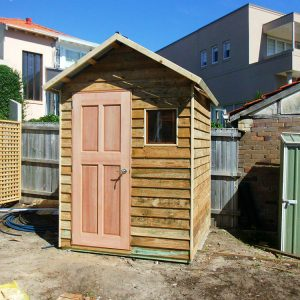 shed 1.8m x 1.8m, gable roof, hardwood door $1445 with accessories