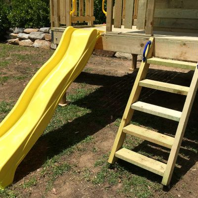 Cubby ladder and slide