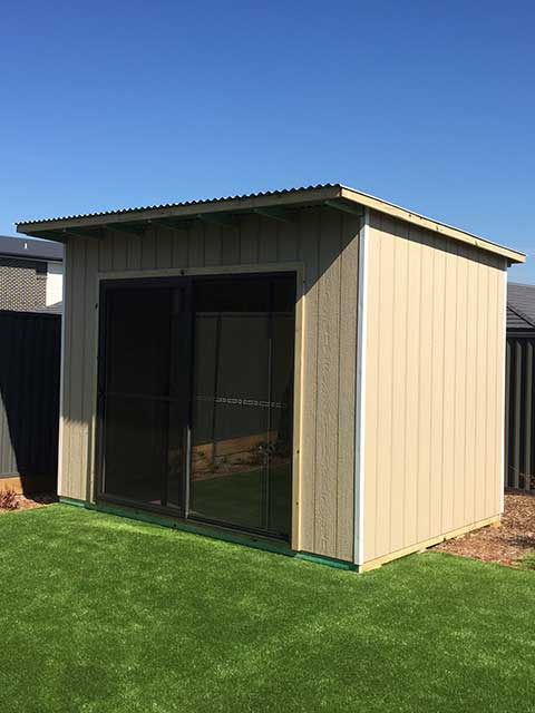 sydney eastern suburbs timber shed with sliding glass door and sleek styling
