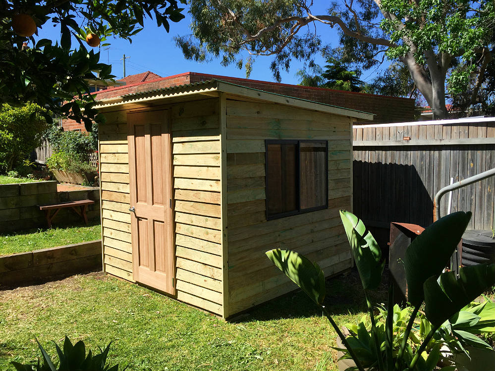 tool shed with sliding, lockable perspex windows