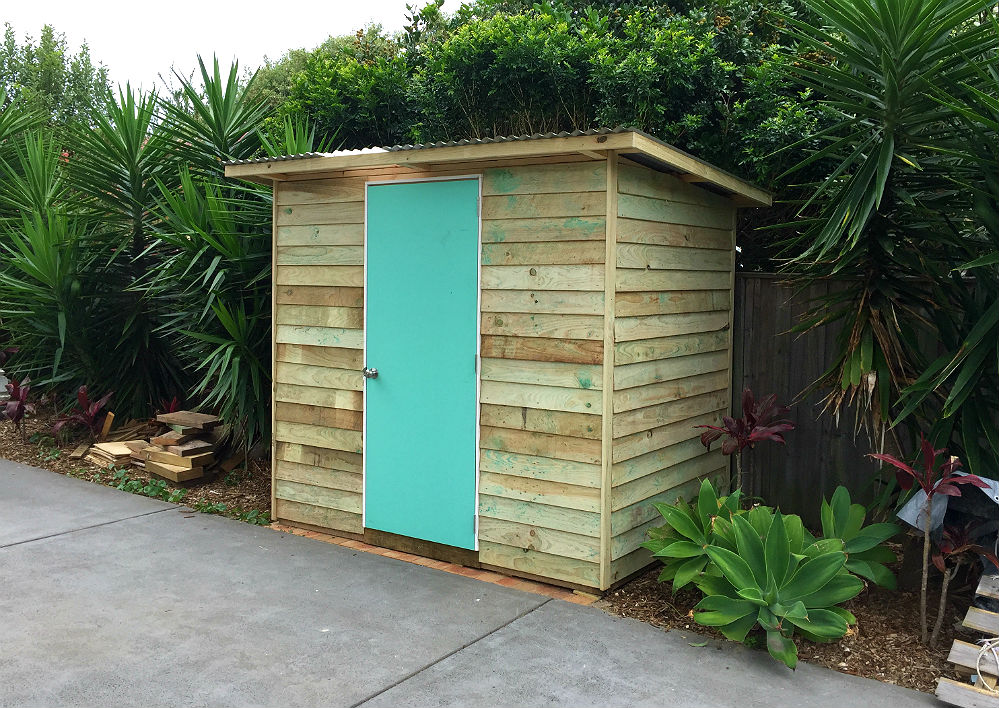 clean lines and design in medium back garden tool shed