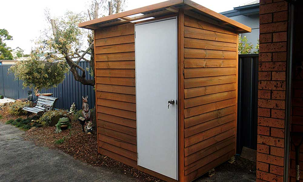 flat-packed medium sized backyard garden shed kit installed in brisbane