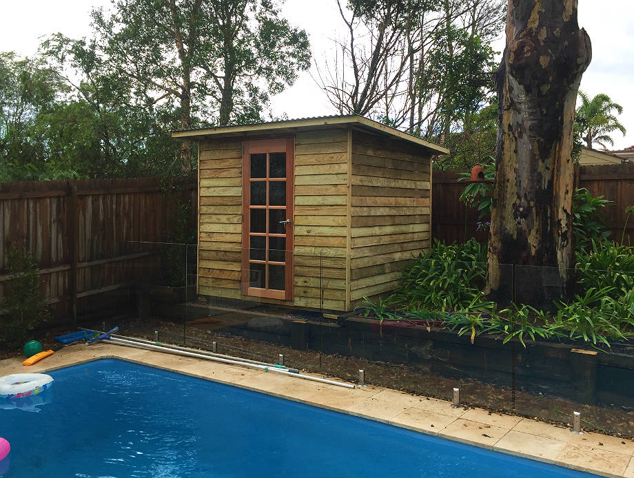 poolside garden shed for tools and pool accessories