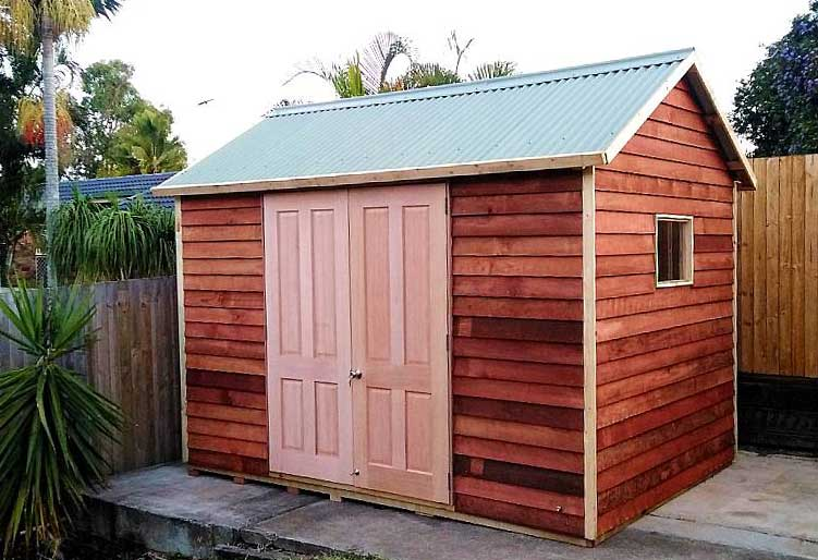flat-packed timber garden shed kits Sydney, with treated pine frame, Colorbond roofing with Lastolite installed in gardens and backyards throughout Sydney