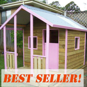 medium flat pack cubby house kit with verandah, x2 perspex windows, stable door, pink trim $2160 with fun accessory set
