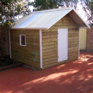 stylish jumbo cubby with white trim, ply door and perspex window