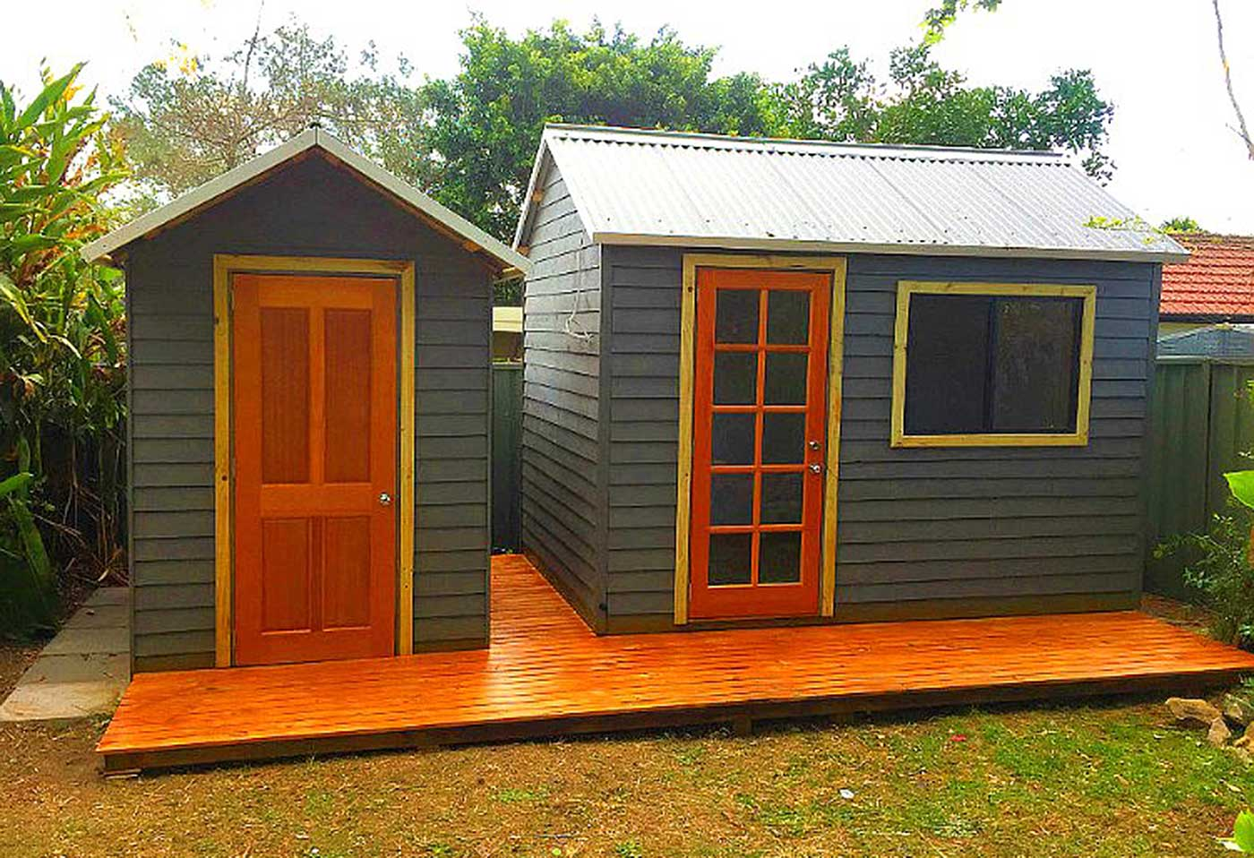 flat pack timber sheds, made in Australia and available for local pickup and delivery- installation is optional.