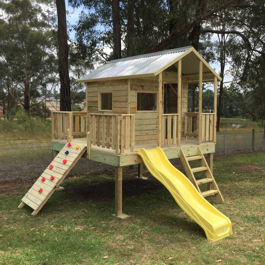 kids elevated cubby with yellow slide