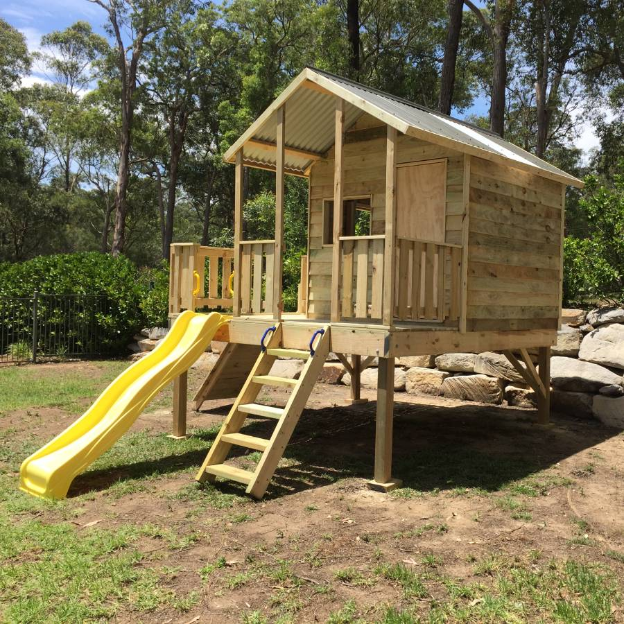 elevated cubby yellow slide