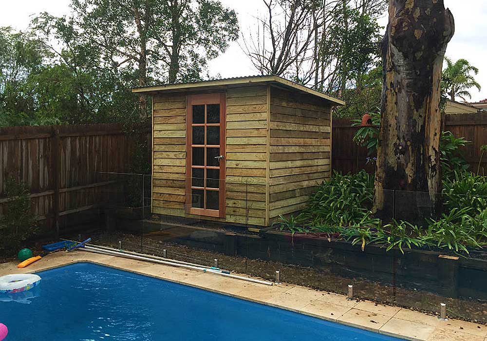 poolside garden shed built from flat pack kit