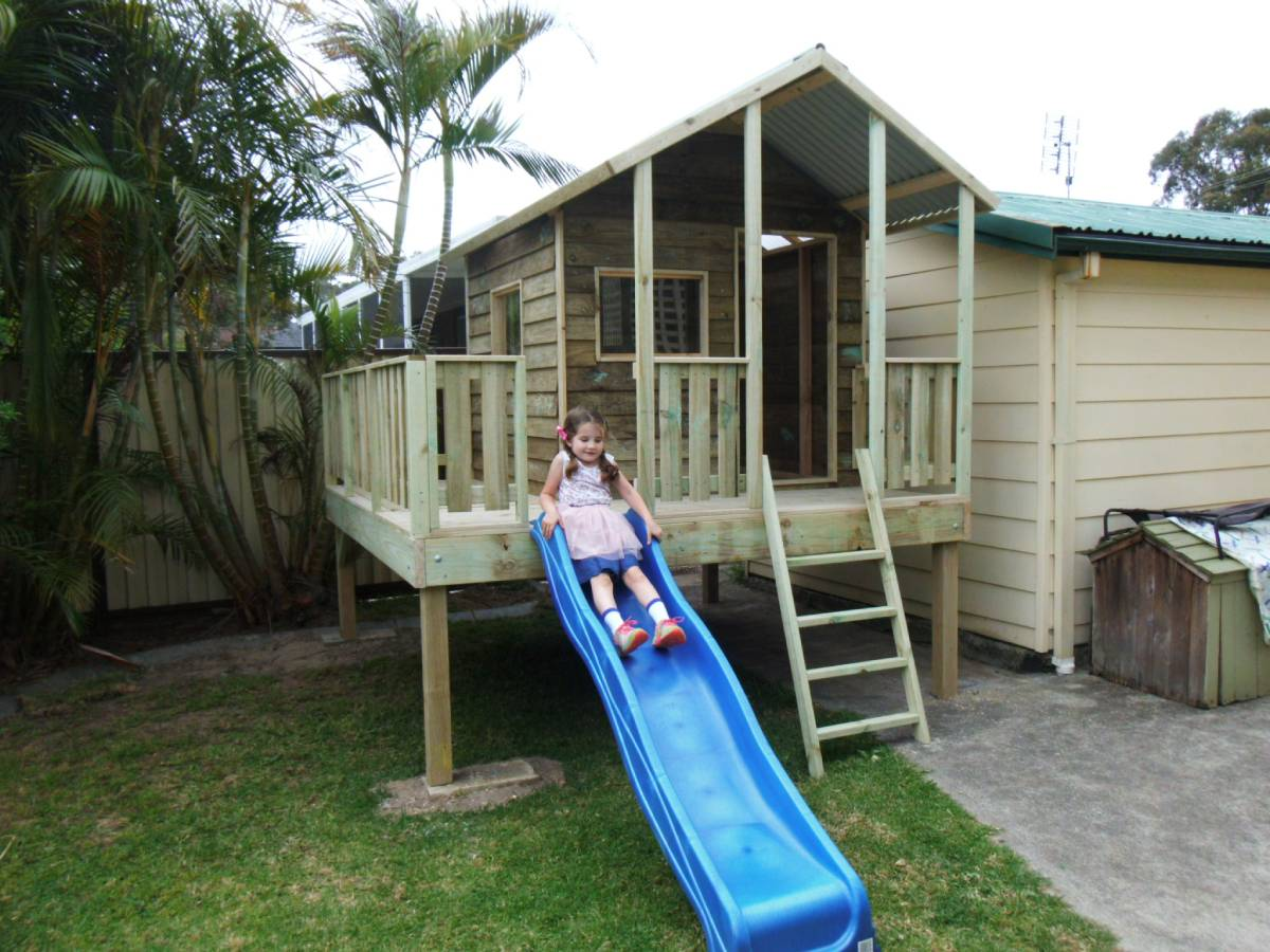 cubby house with ladder and slide